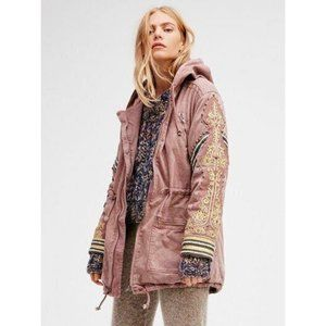 Free People Golden Quills Pink Embroidered Jacket